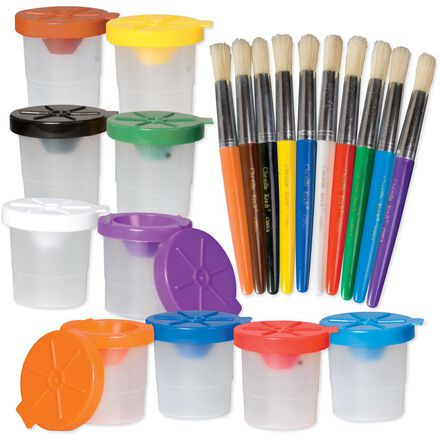 No Spill Paint Cups & Brushes 20-Pack
