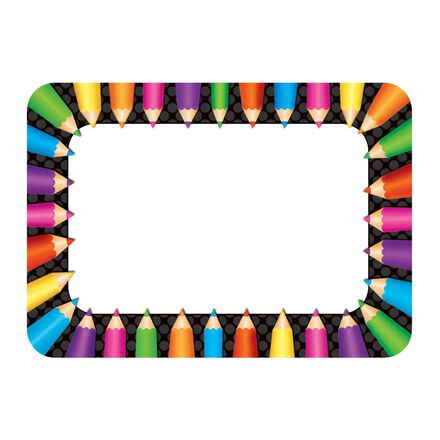 Coloured Pencils Name Tags and Labels
