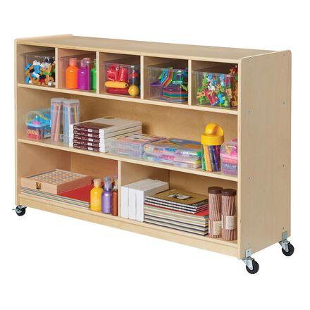 Wooden 5-Bin & Game Storage Unit