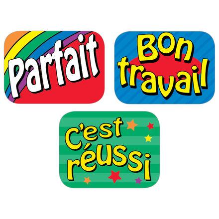 Autocollants français pour féliciter les élèves