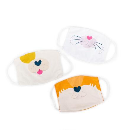 Kids' Face Masks 3-Pack: Puppy, Kitty, Fox Set