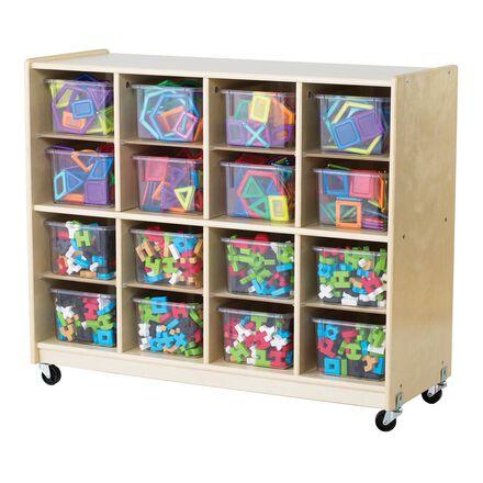 Wooden Storage 16-Bin Unit