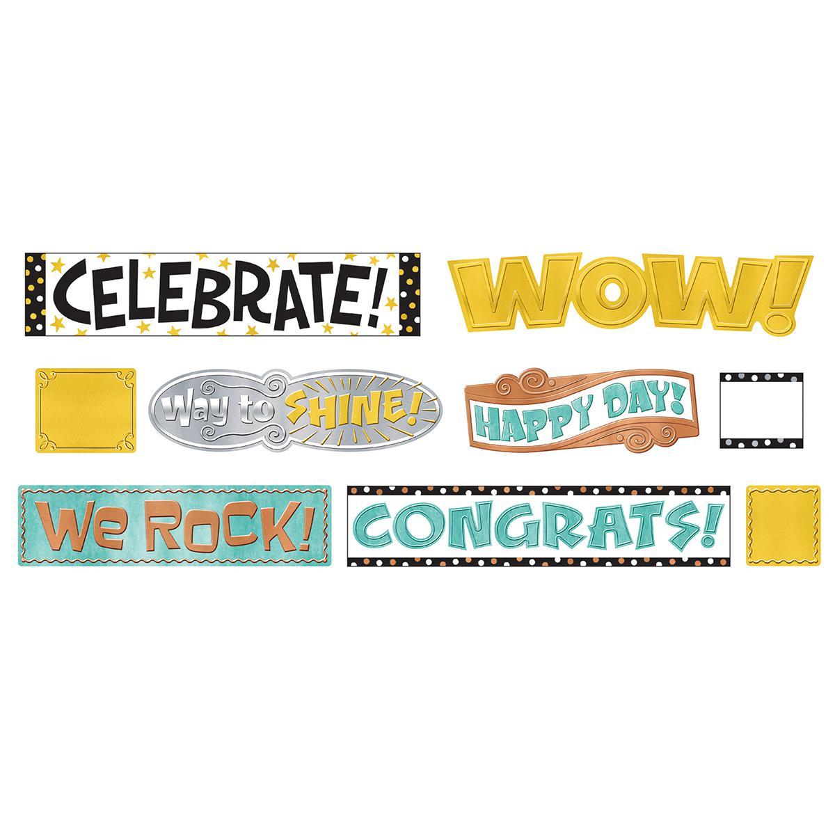 I Love Metal Wipe-Off Celebration Signs Mini Bulletin Board Set