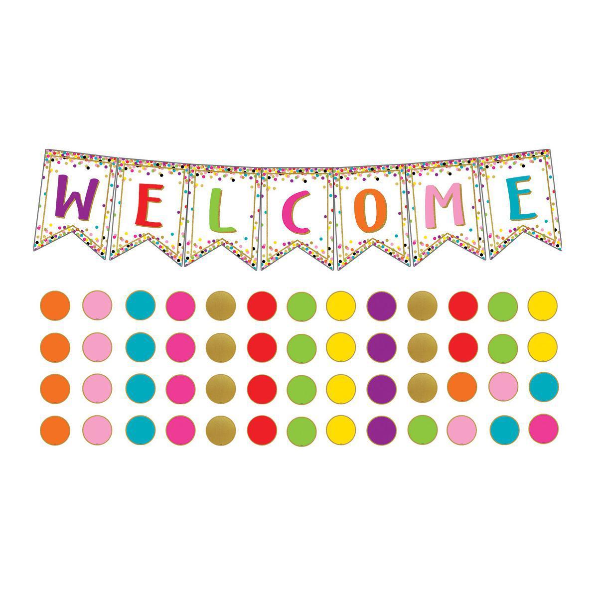 Confetti Welcome Pennants Bulletin Board Set