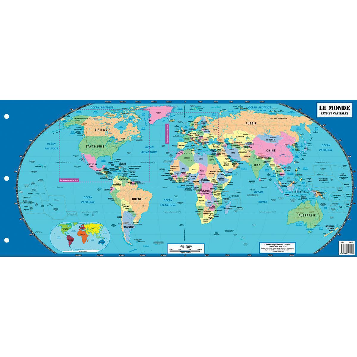 Le monde, pays et capitales