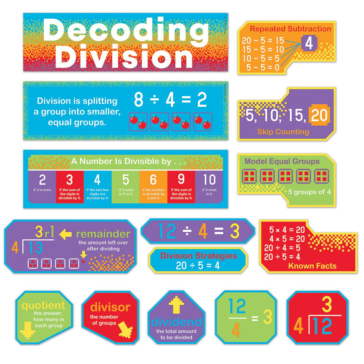 Decoding Division Mini Bulletin Board Set