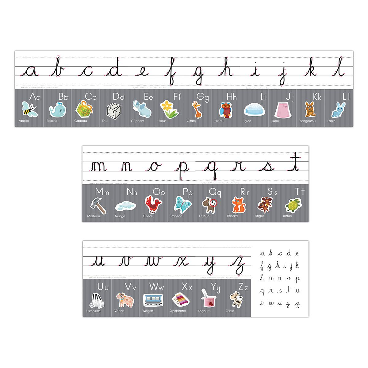 Affiches Alphabet en Lettres Cursives
