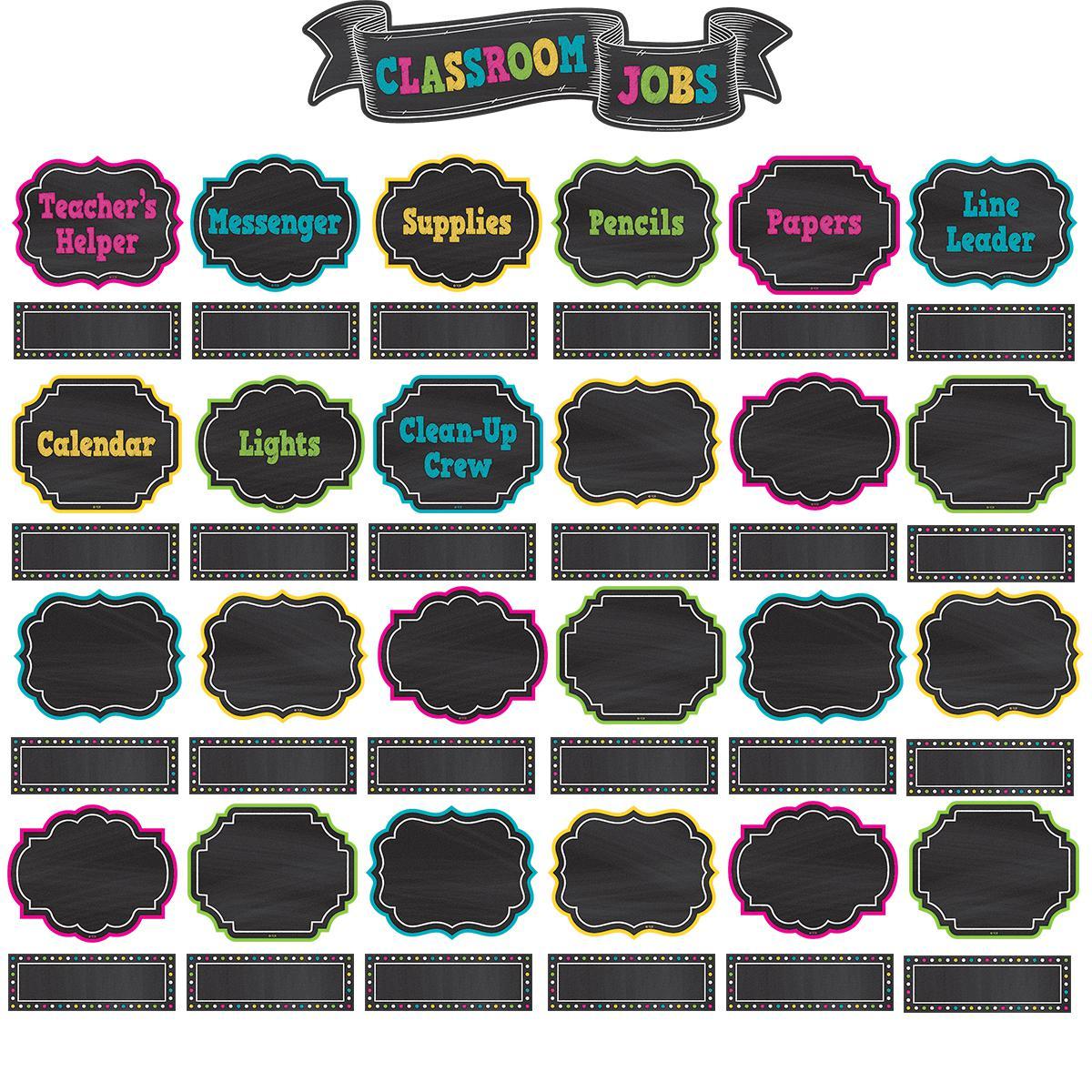 Chalkboard Brights Classroom Jobs Mini Bulletin Board Set