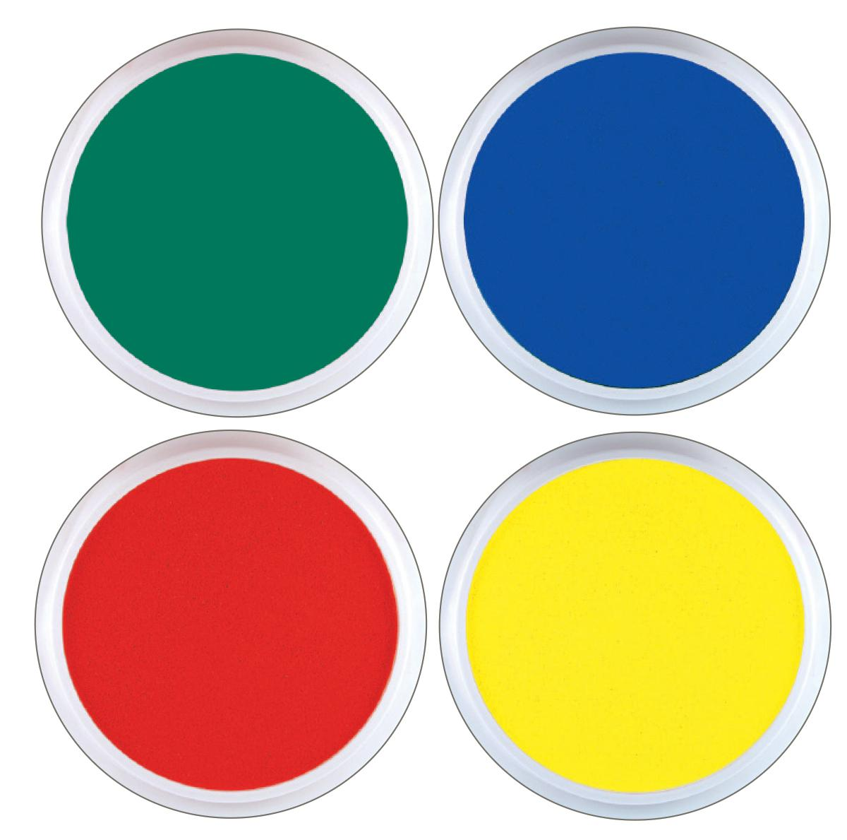 Jumbo Circular Washable Paint/Ink Pads Primary Colours Kit