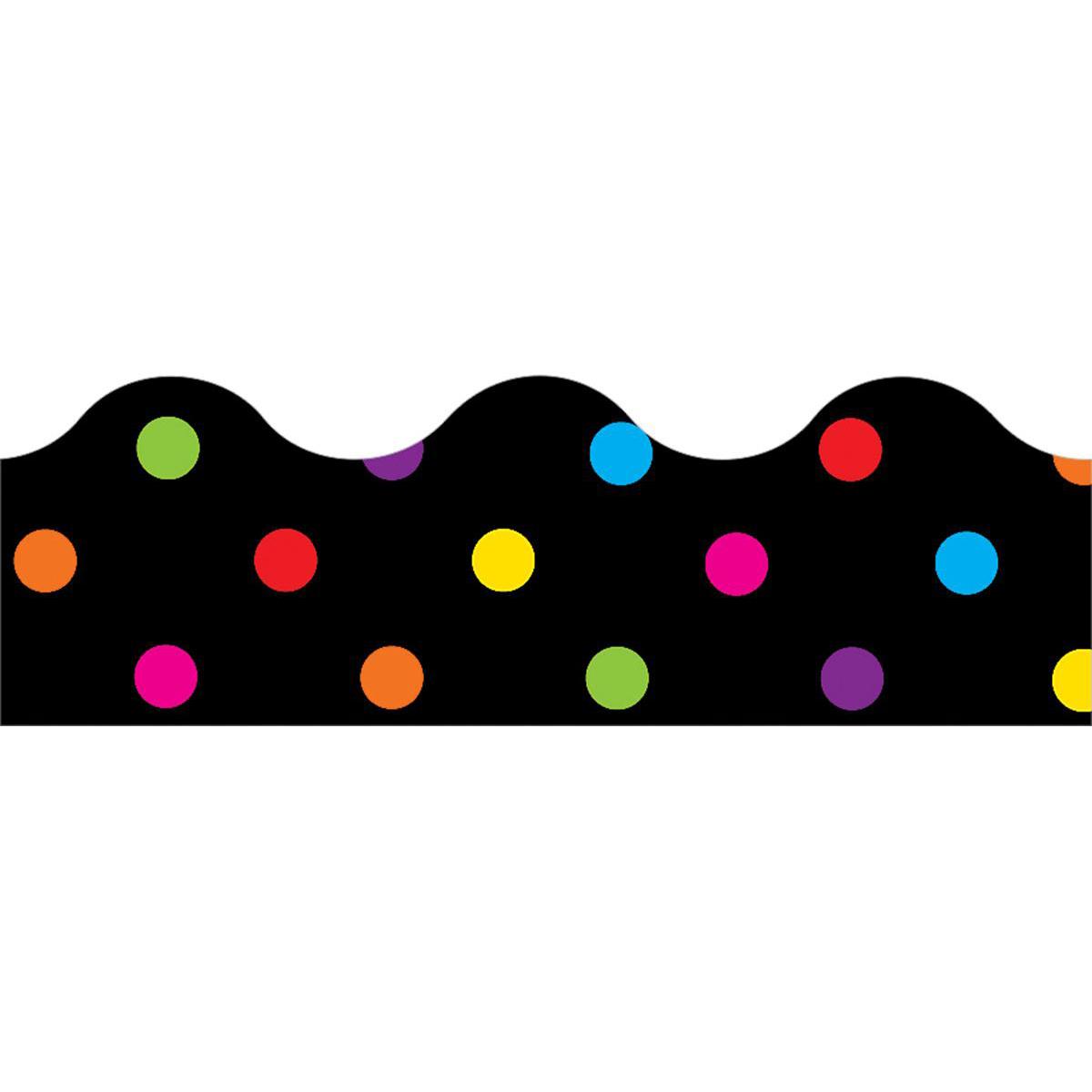 Bordures décoratives à pois multicolores sur fond noir