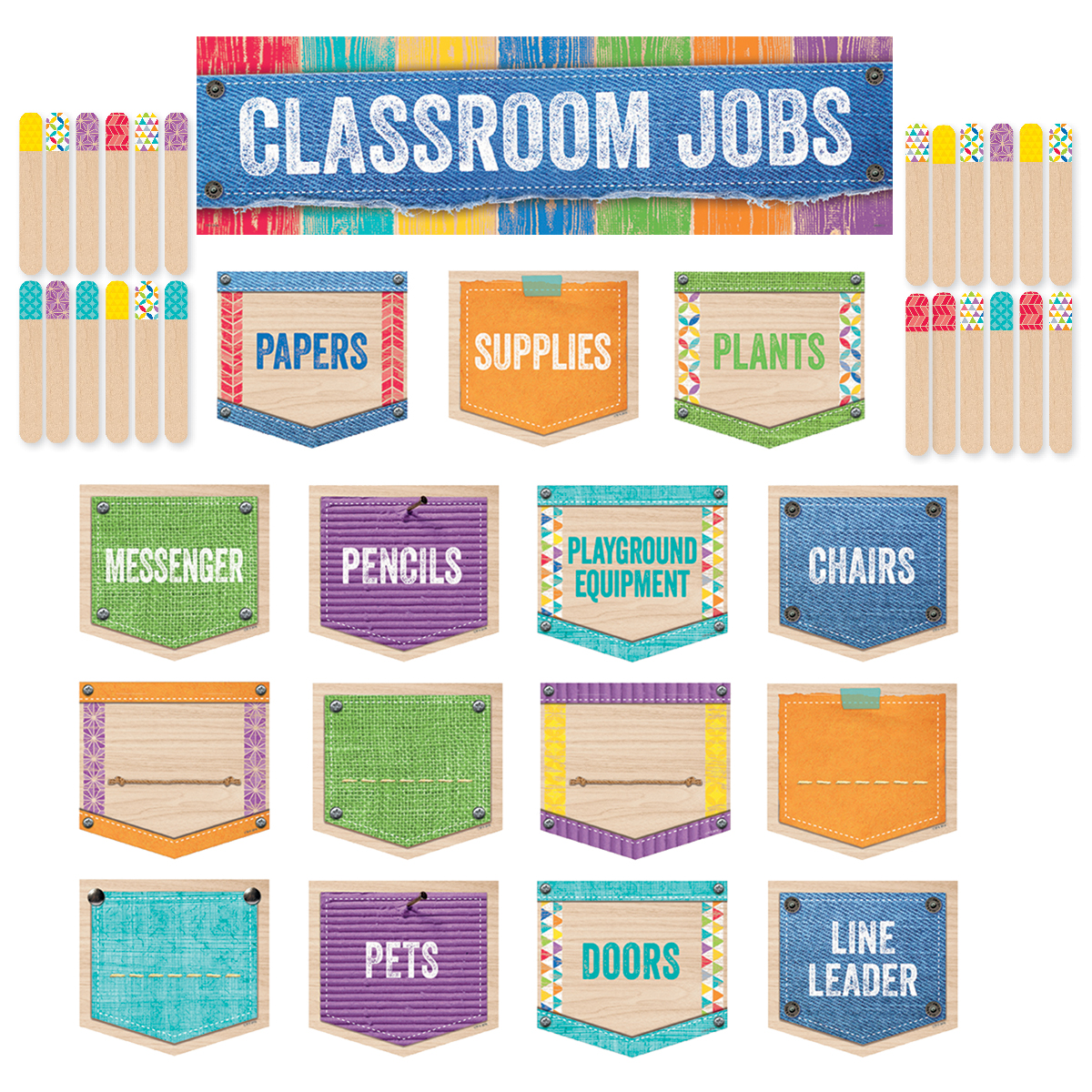 Upcycle Classroom Jobs Mini Bulletin Board Set