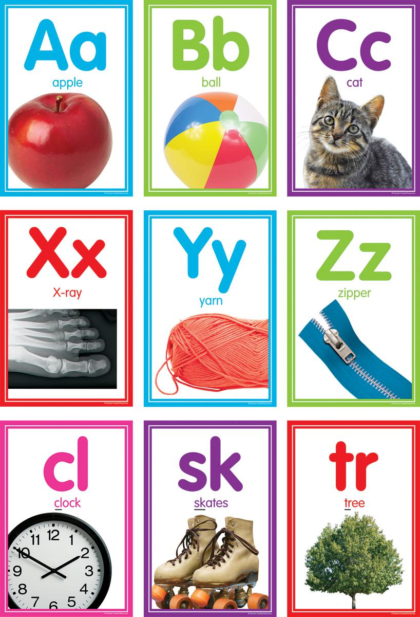 Colorful Photo Alphabet Cards Bulletin Board