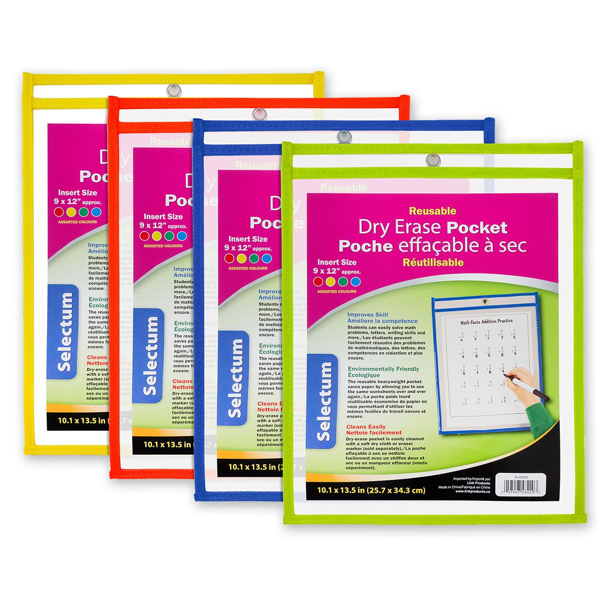 Reusable Dry Erase Pockets 12-Pack