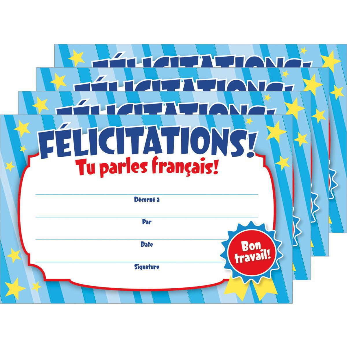 Certificats Félicitations! Tu parles français!