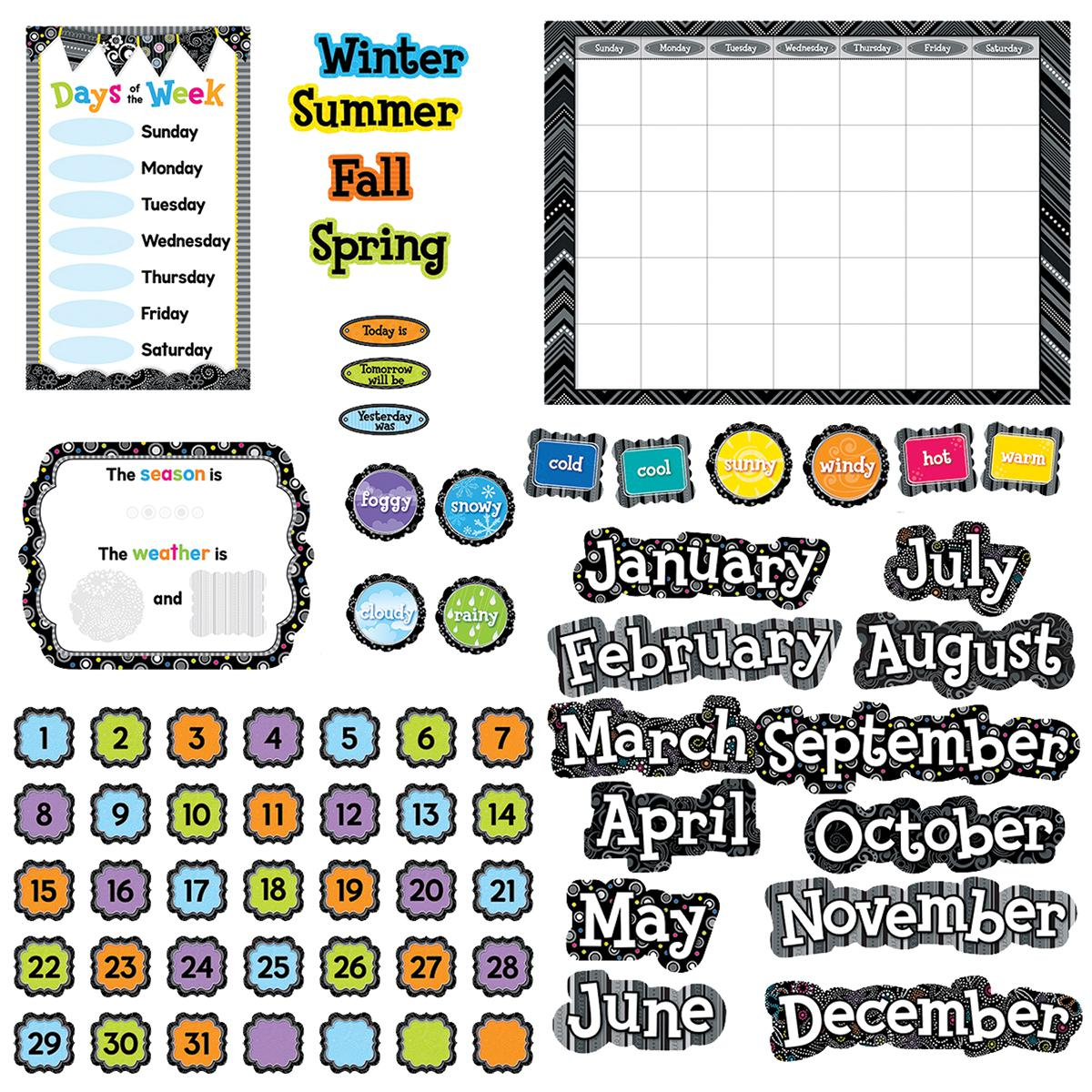 Black and White Calendar Bulletin Board Set