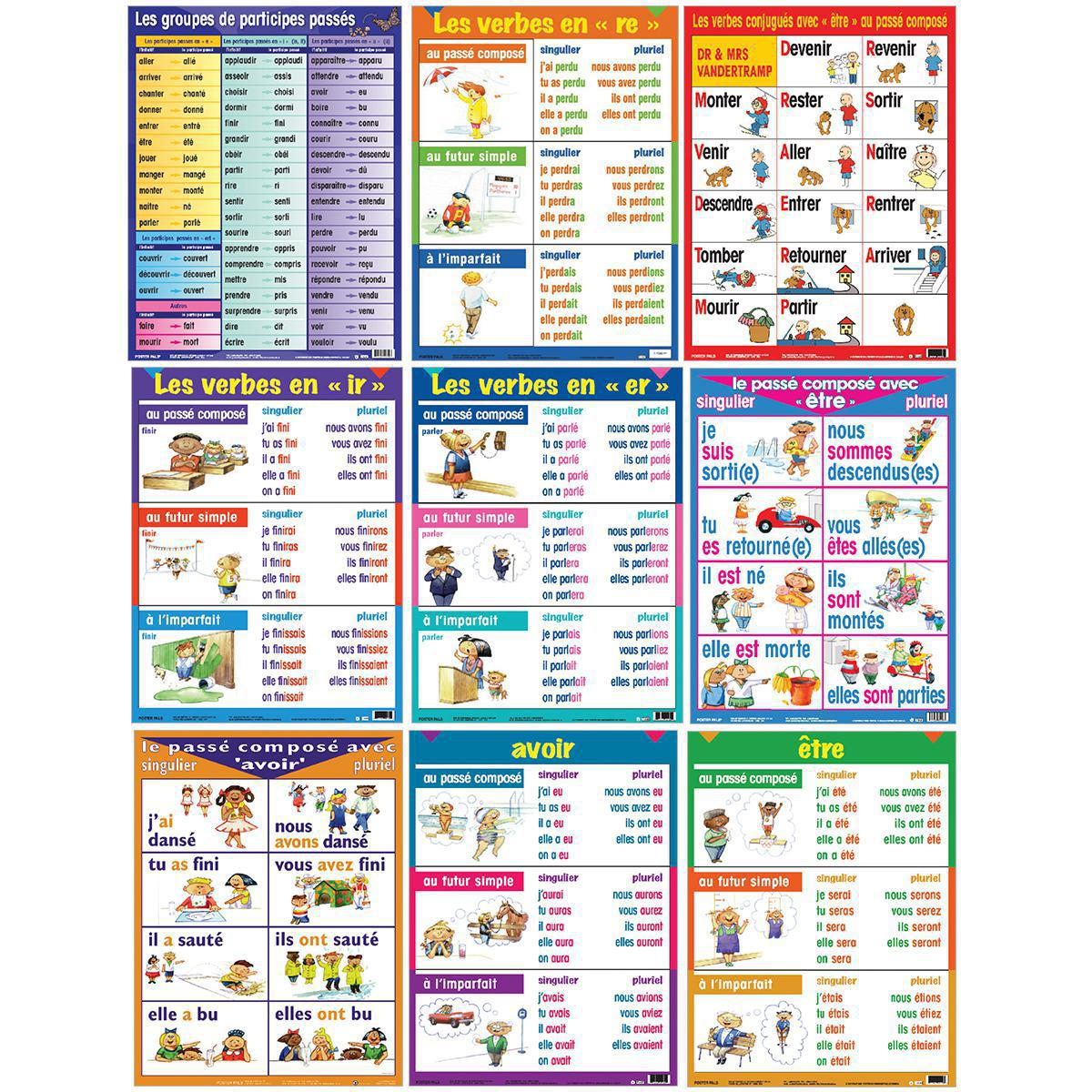 French Verb Charts 9-Pack