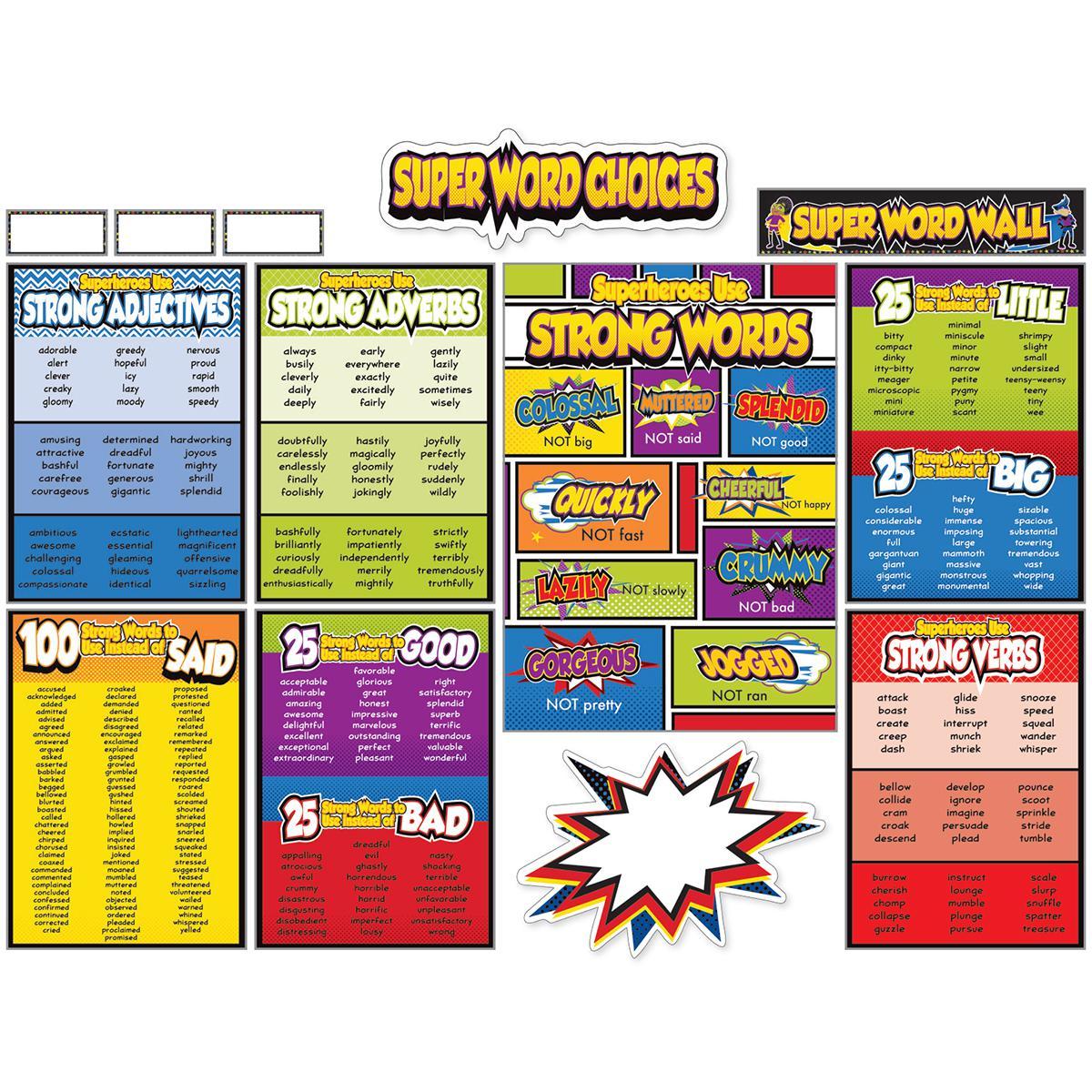 Super Power Super Word Choices Bulletin Board Set