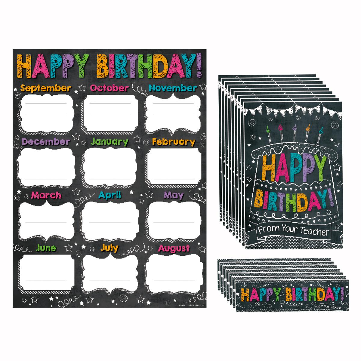 Chalkboard Happy Birthday Bulletin Board Set