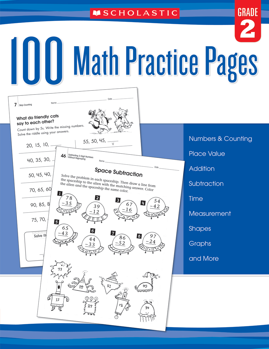 100 Math Practice Pages: Gr. 2