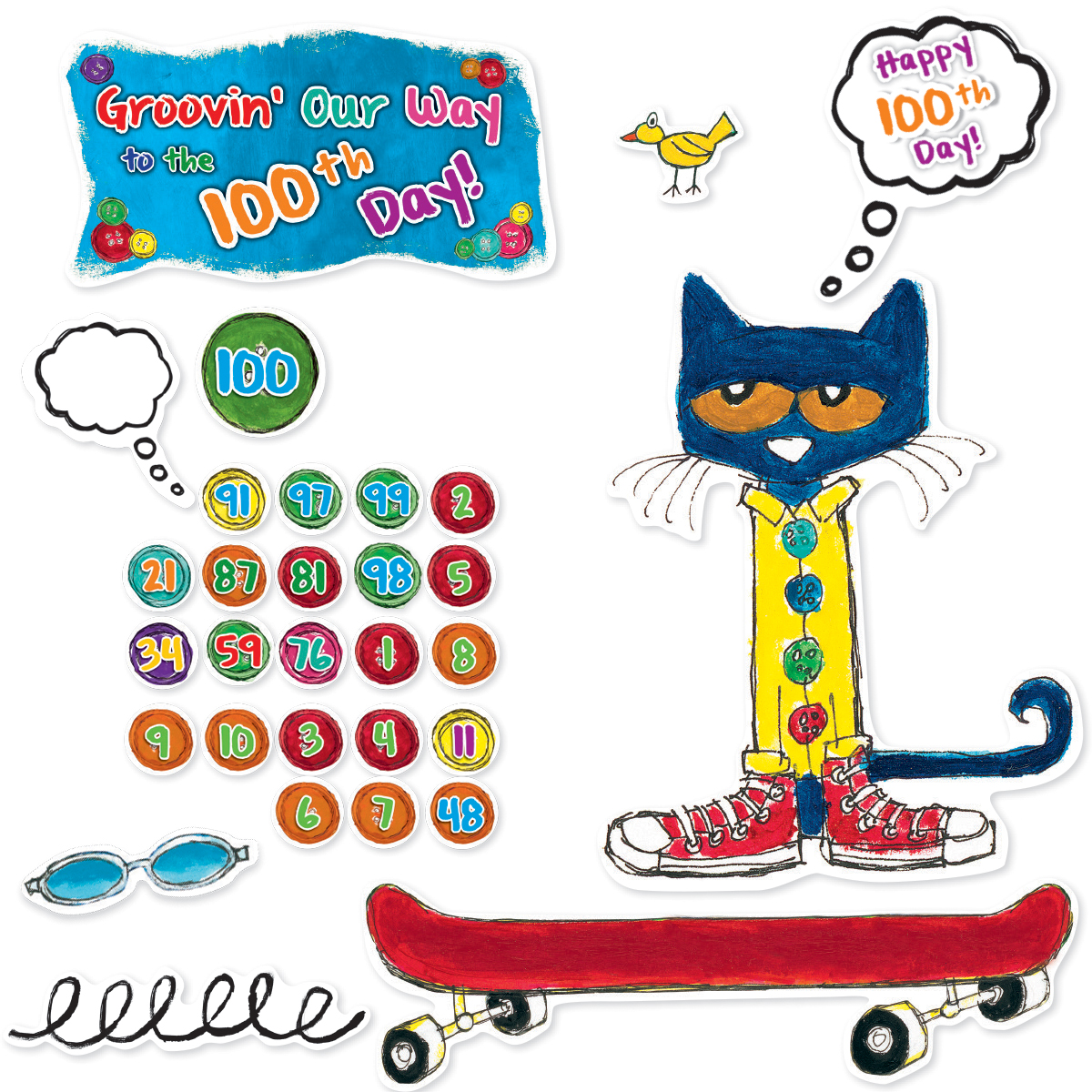 Pete the Cat© 100th Day Bulletin Board Set