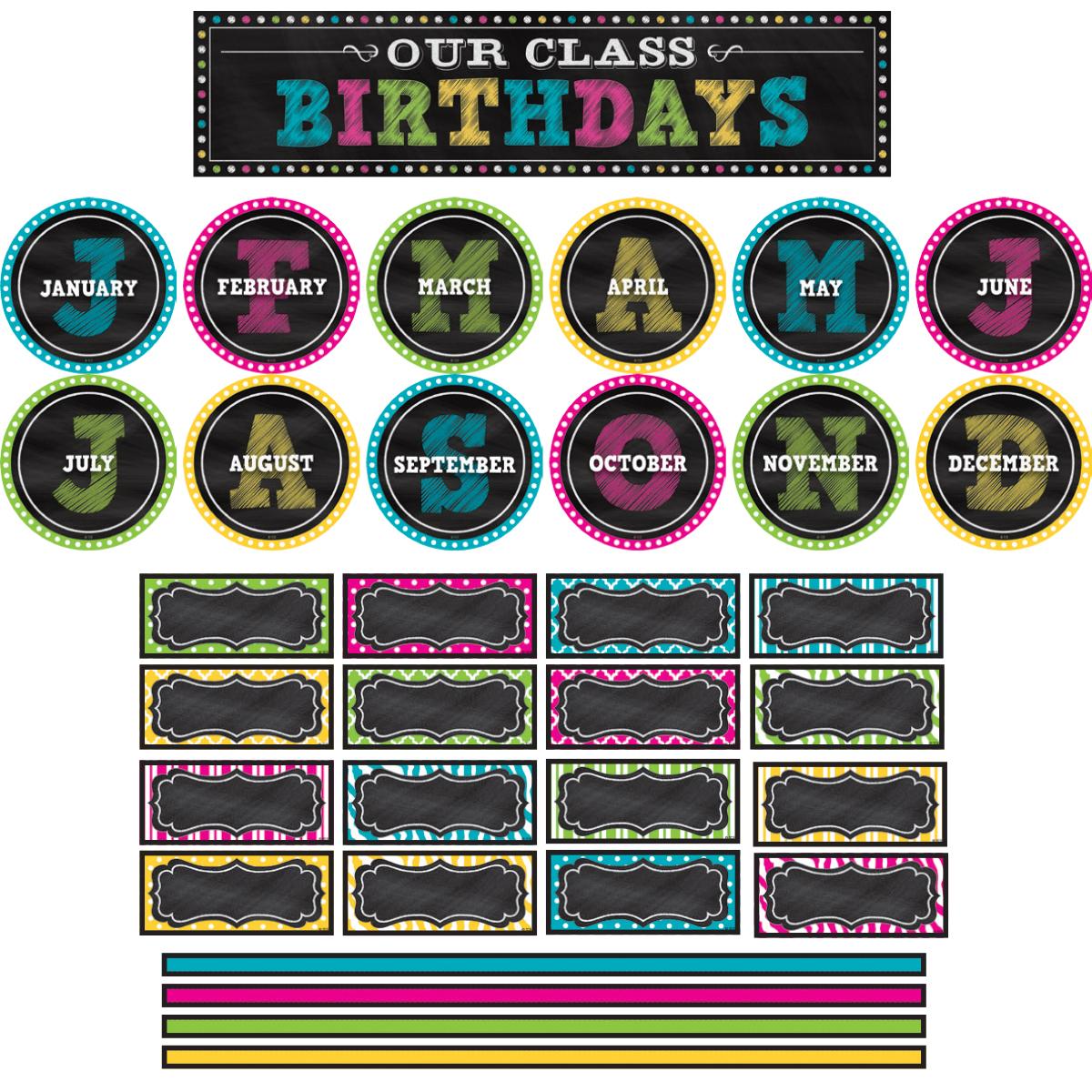 Chalkboard Brights Our Class Birthdays Mini Bulletin Board Set