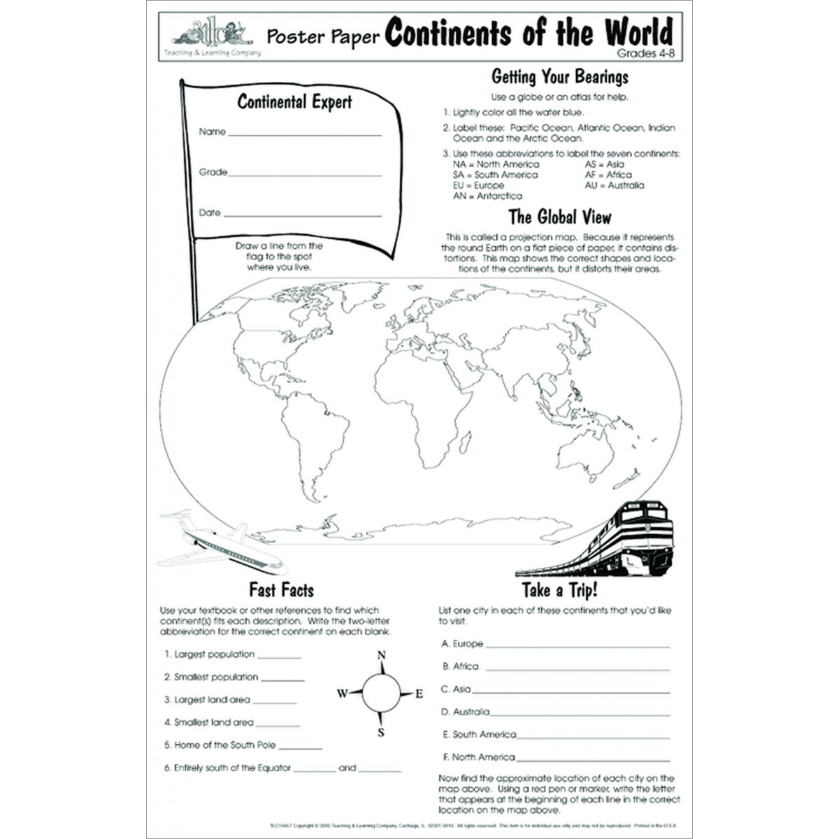 Continents of the World Poster Papers