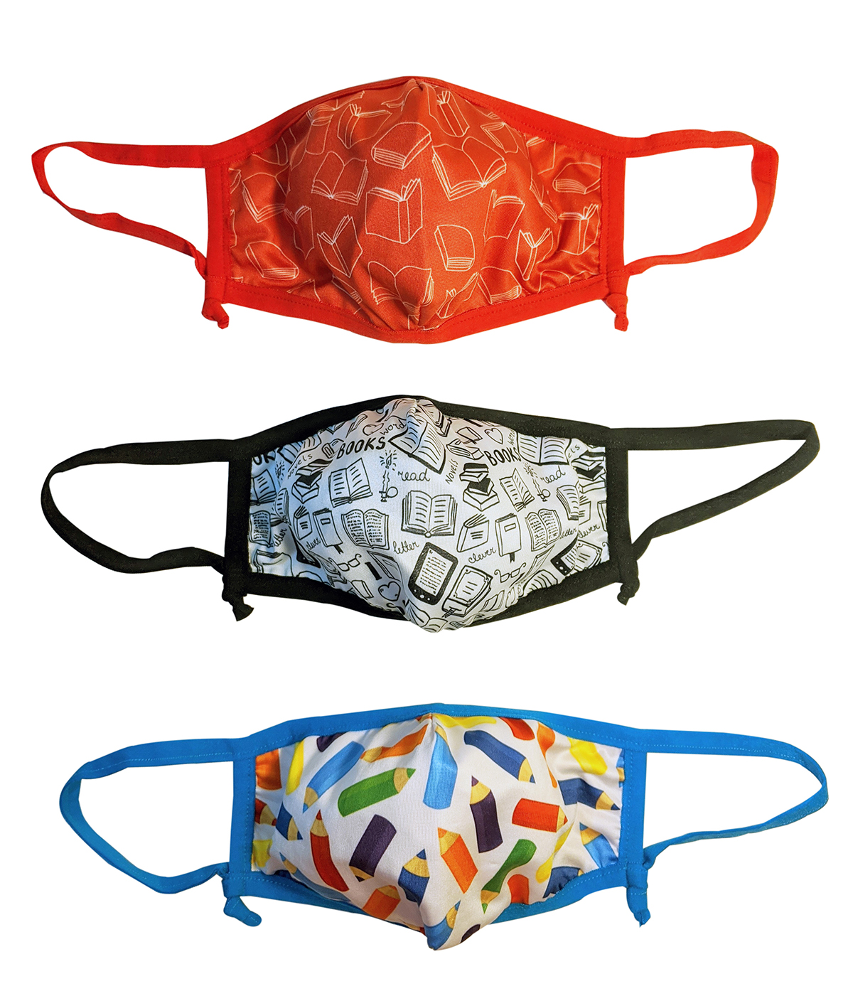 Adult Face Masks 3-Pack: Books/Pencils Theme