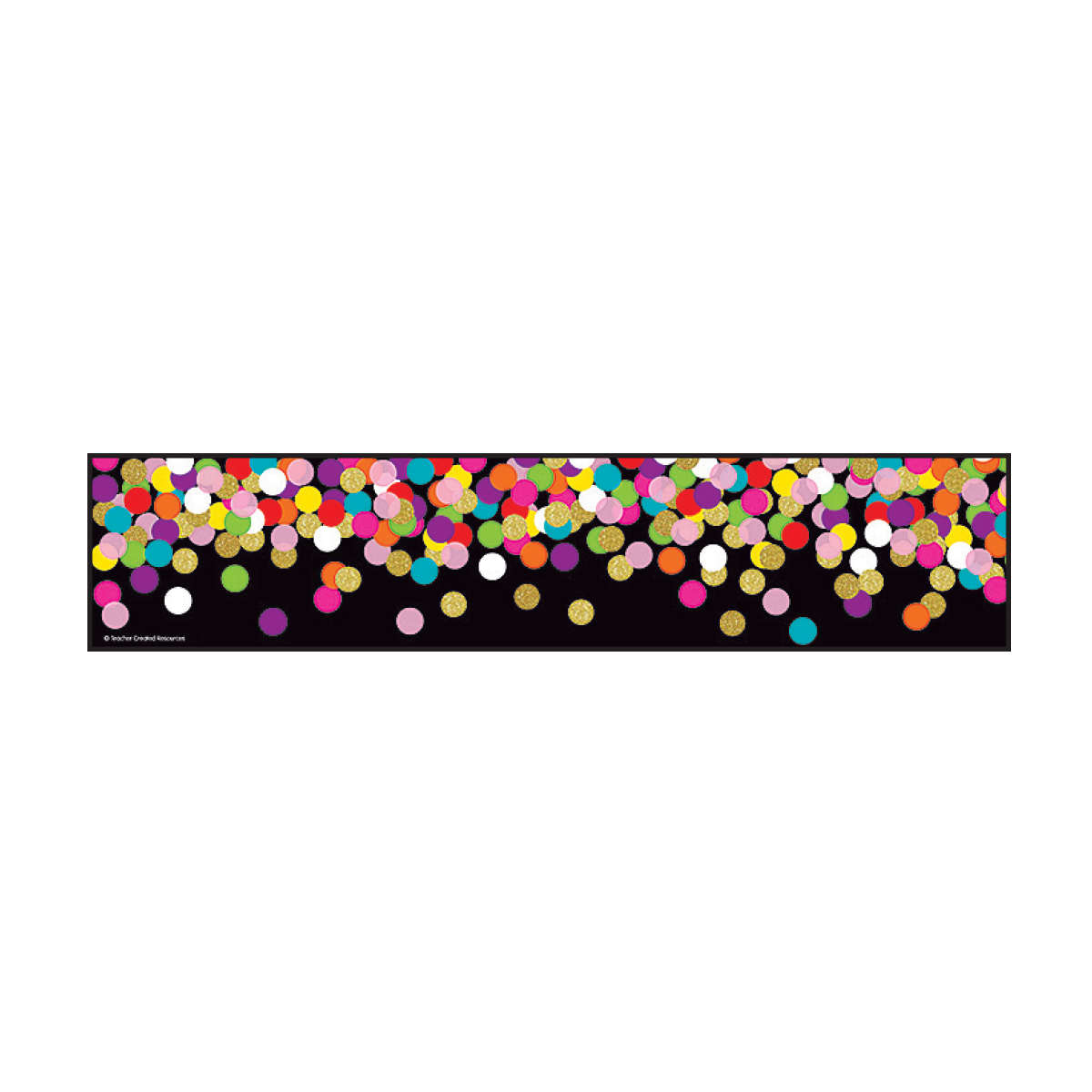 Colorful Confetti on Black Straight Border Trim