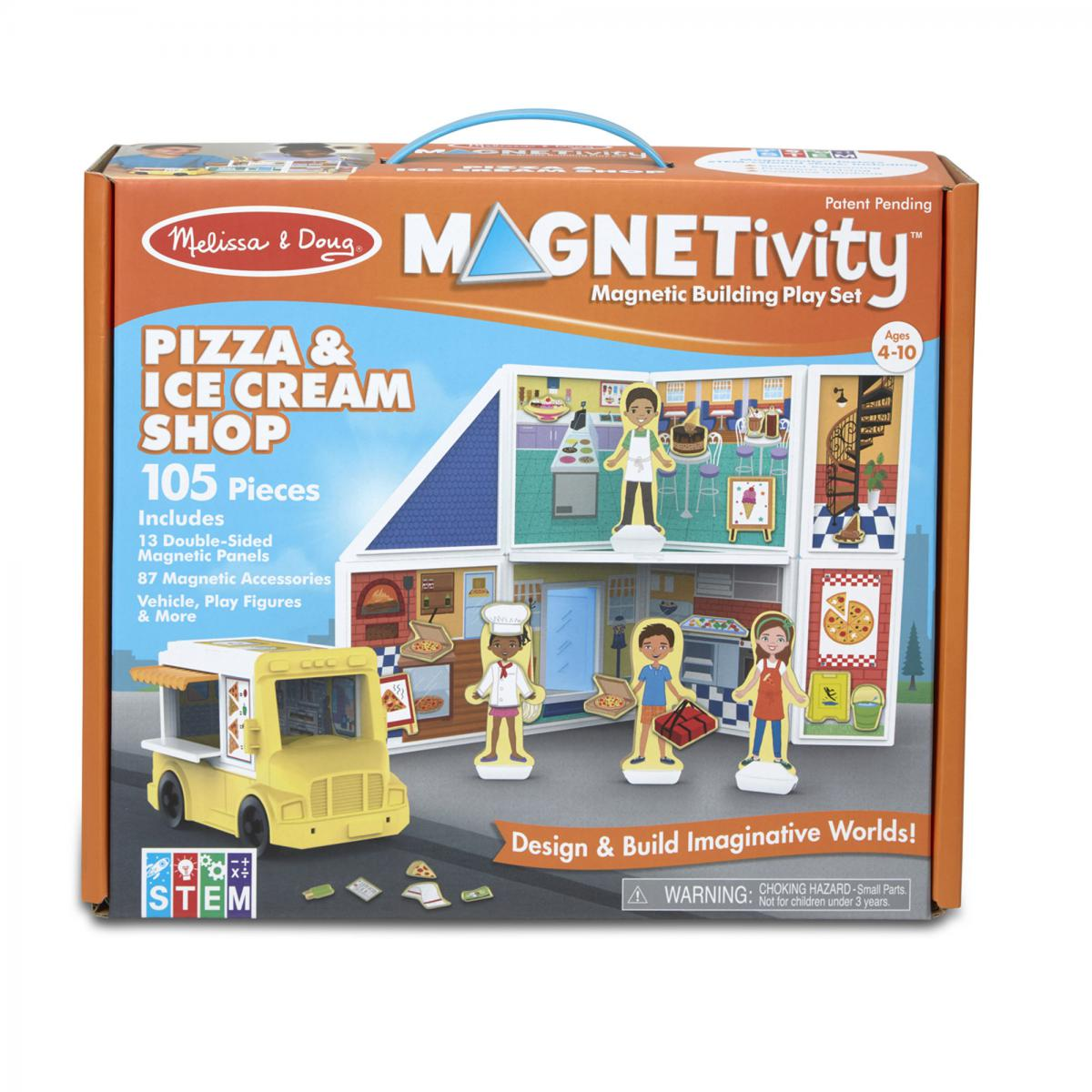 Magnetivity Magnetic Building Play Set: Pizza & Ice Cream Shop