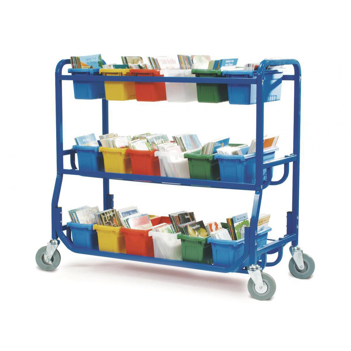 Library on Wheels Cart (18 Small Book Tubs)