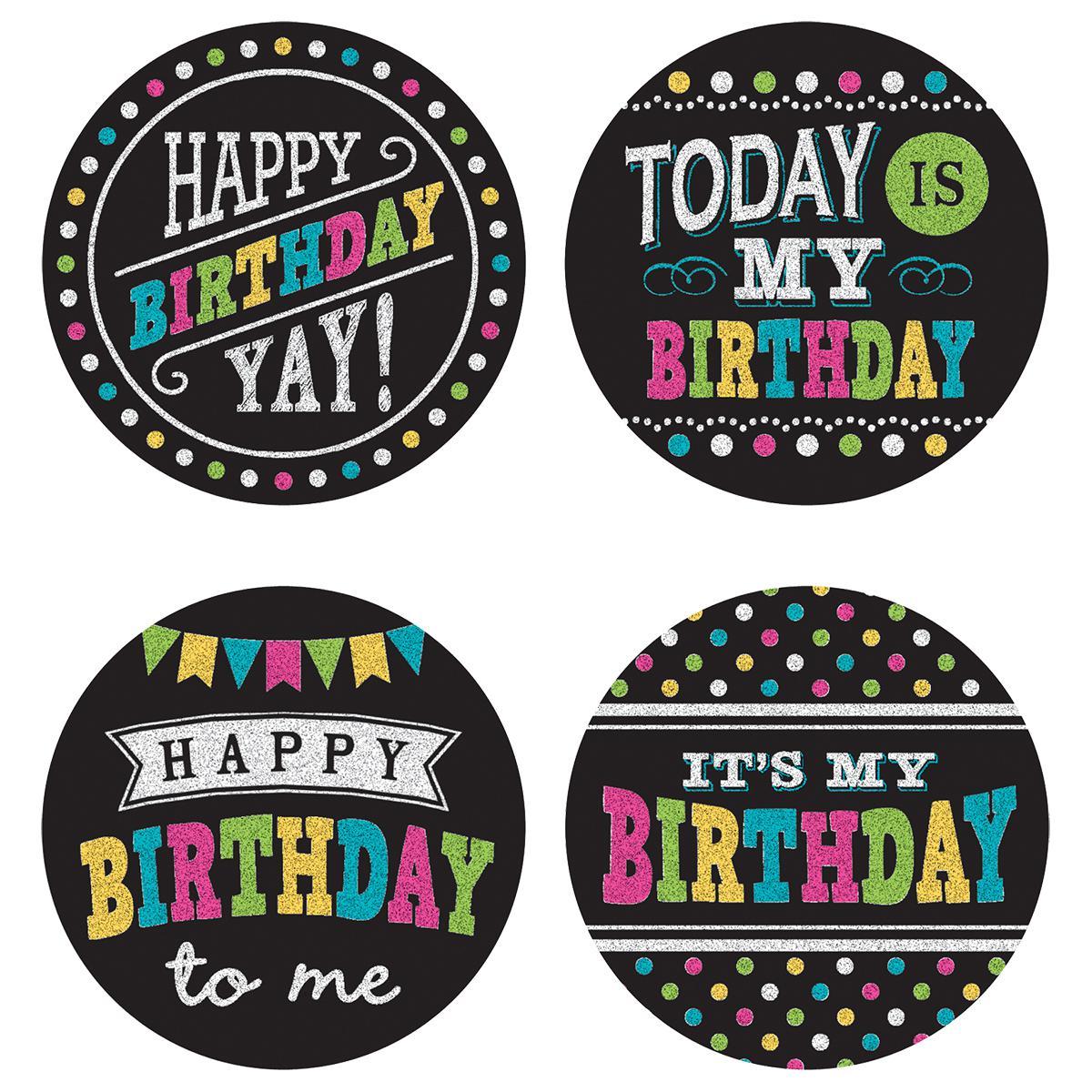 Chalkboard Brights Happy Birthday Stickers