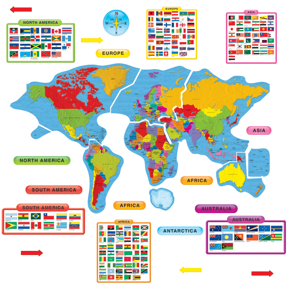 Continents and Countries Bulletin Board Set