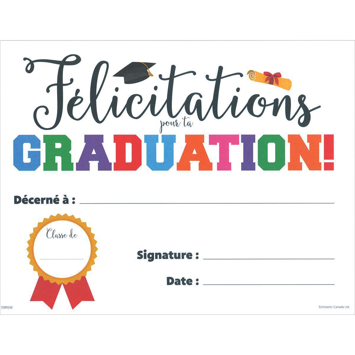Certificats Félicitations pour ta graduation!