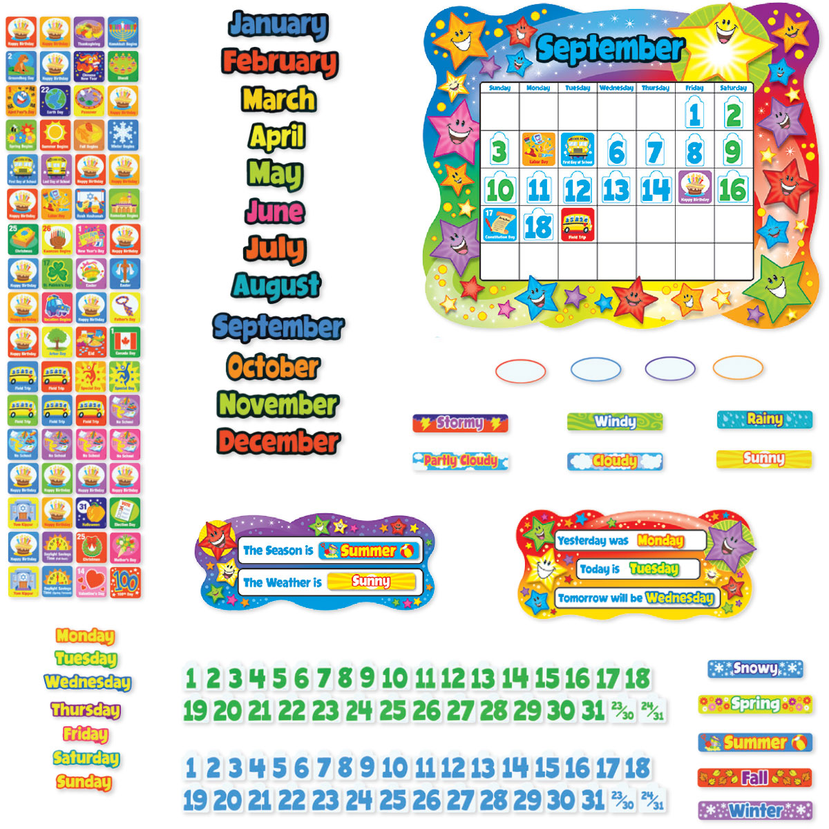 Star Calendar Bulletin Board Set