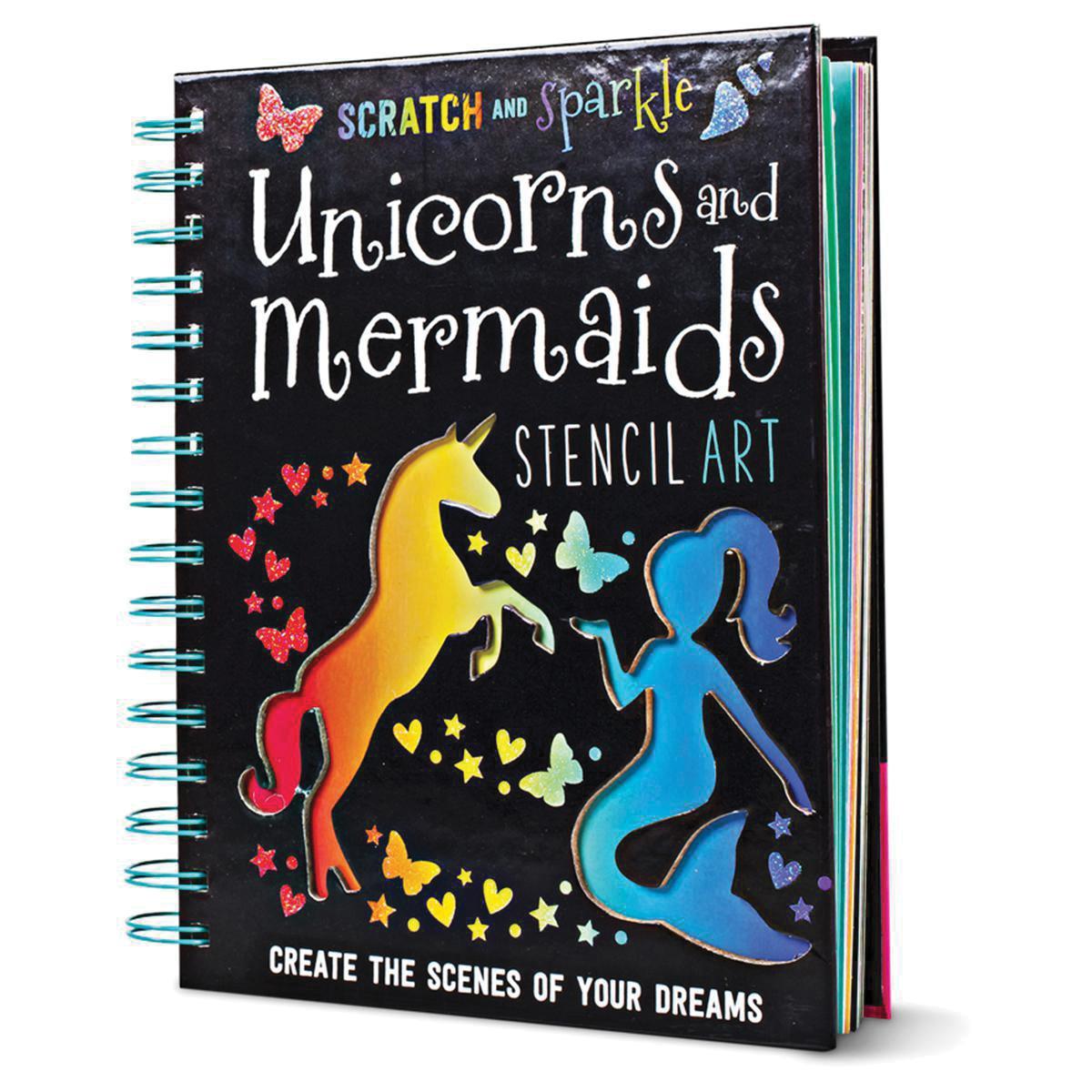 Scratch and Sparkle: Unicorns and Mermaids Stencil Art