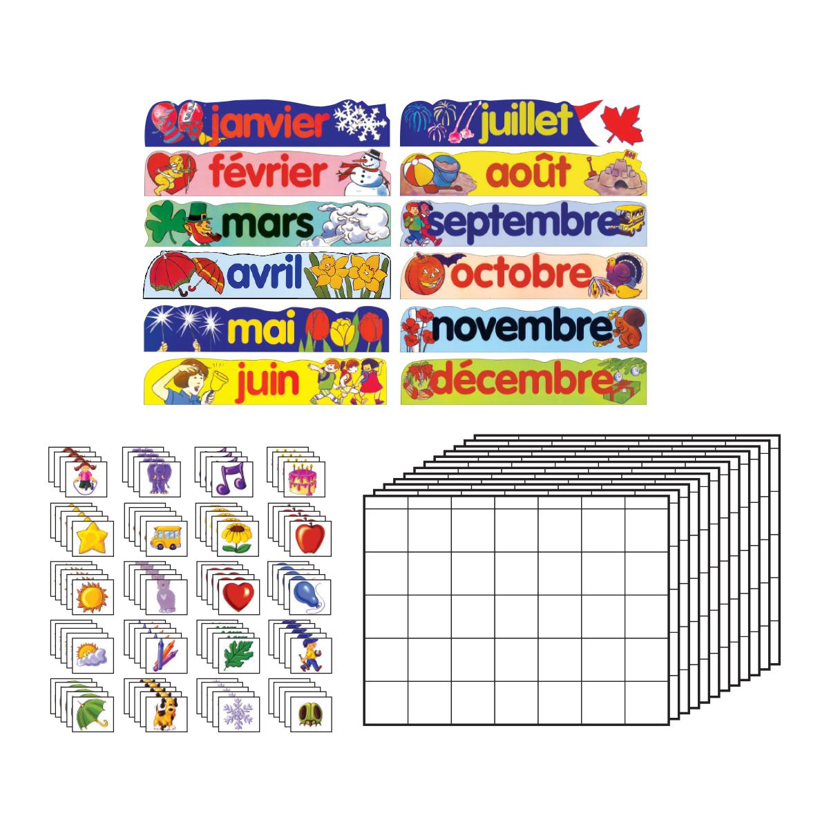 French Canadian Calendar Bulletin Board Set