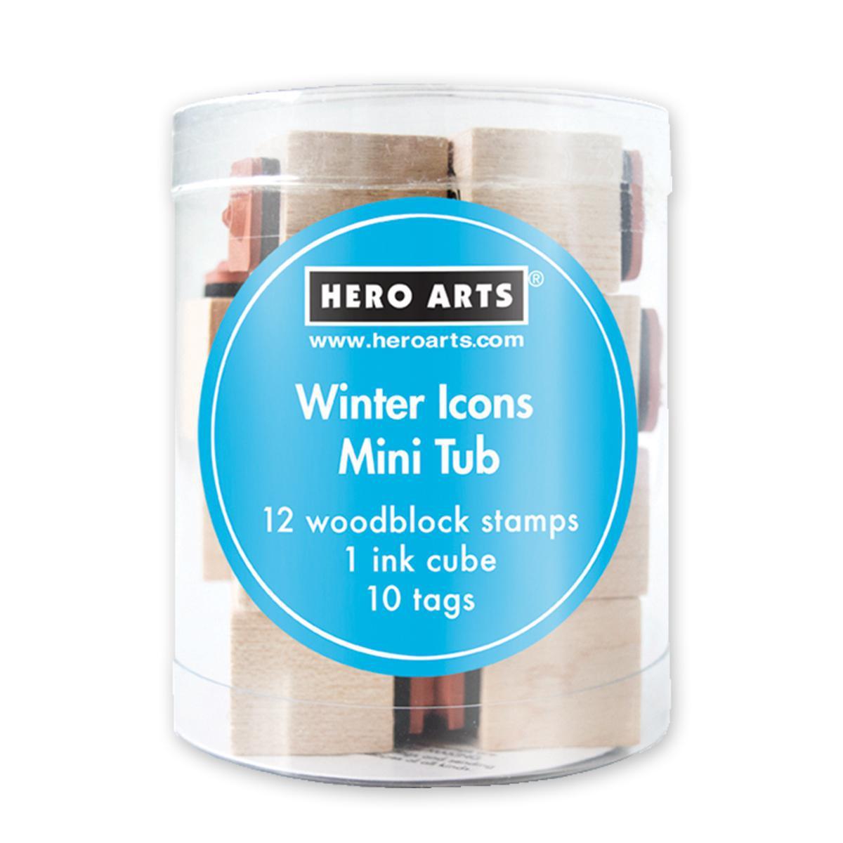 Mini timbres avec tampon encreur - Décorations d'hiver