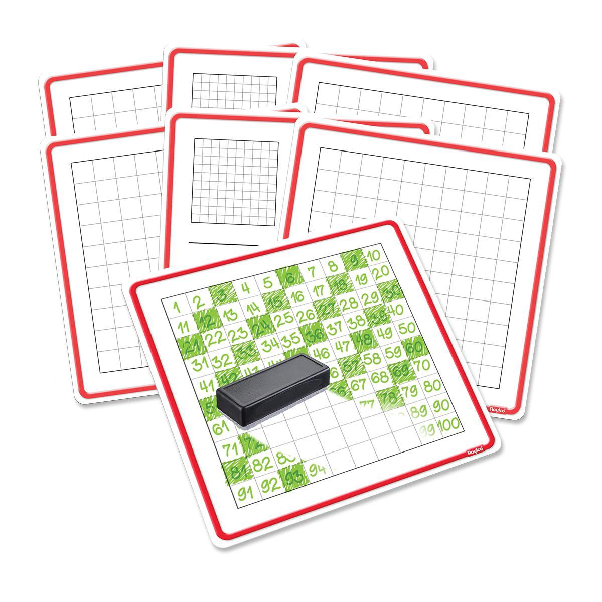 Tableaux effaçables pour compter jusqu'à 100, paquet de 24