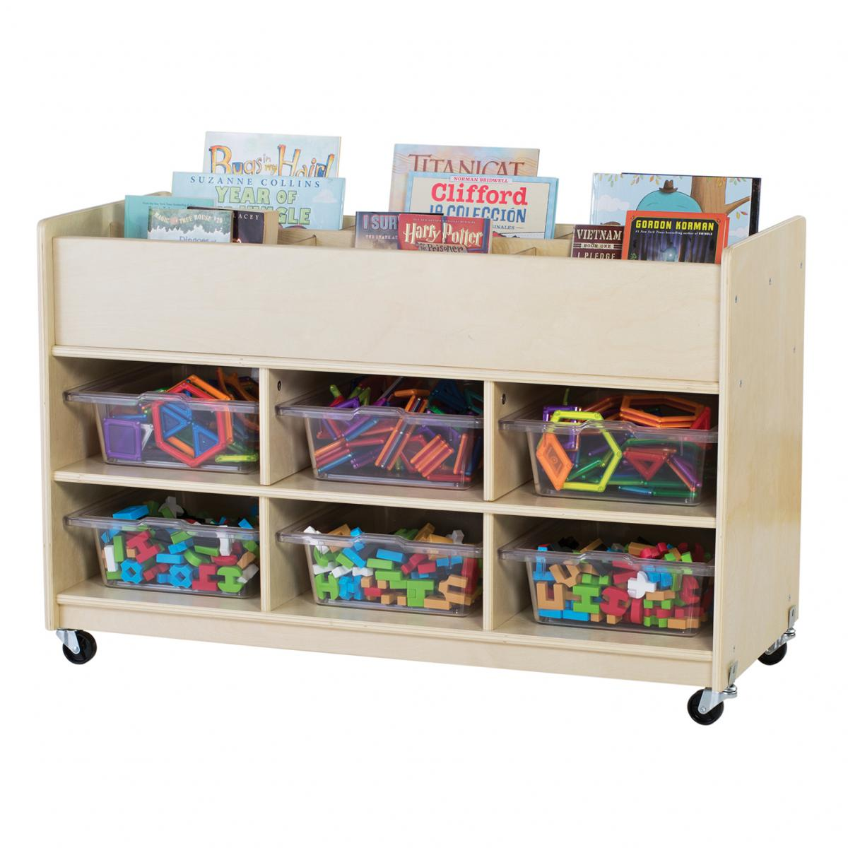 Wooden Book Top & Bin Storage Unit