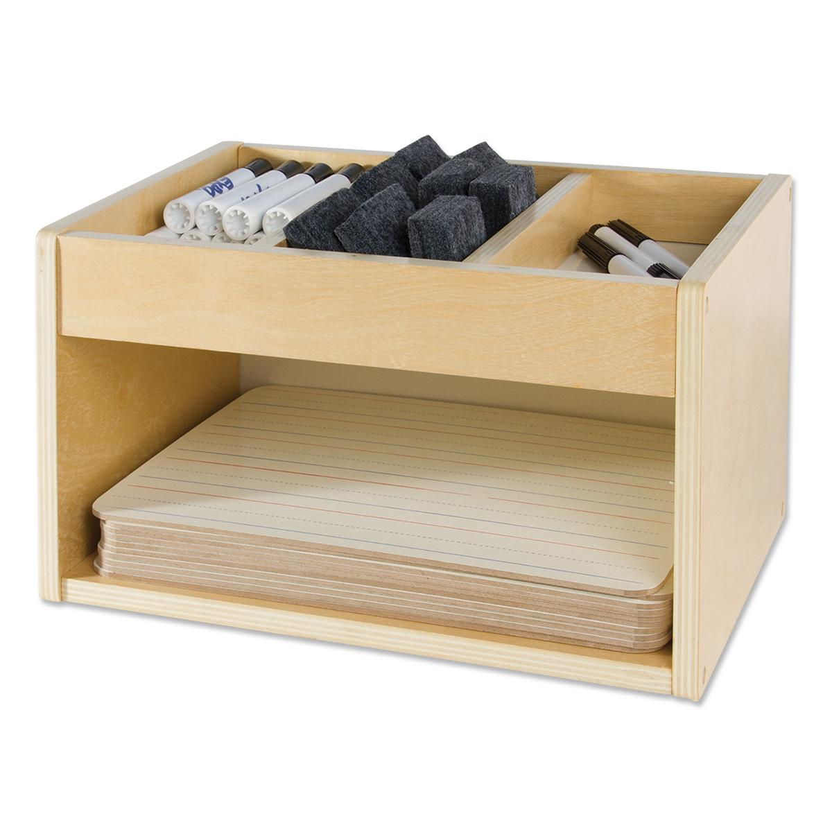 Wooden Whiteboard Caddy with 10 Whiteboards