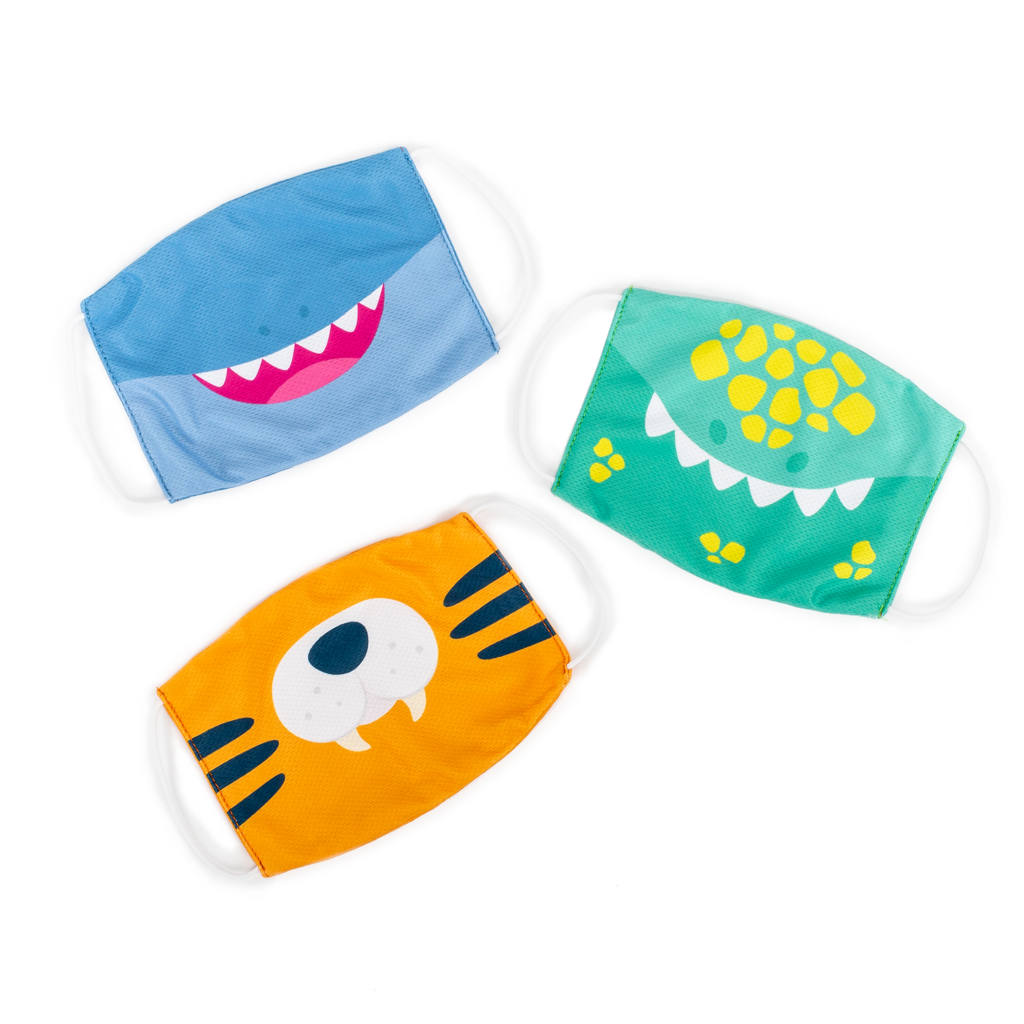 Kids' Face Masks 3-Pack: Dinosaur, Tiger, Shark Set