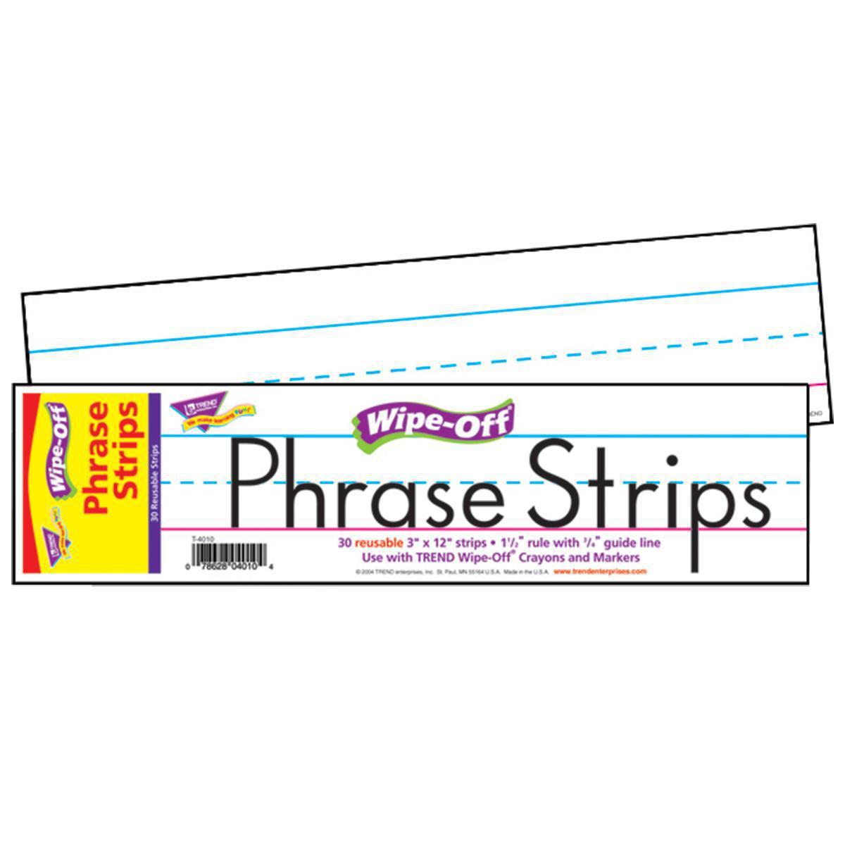 Wipe-Off Phrase Strips: White