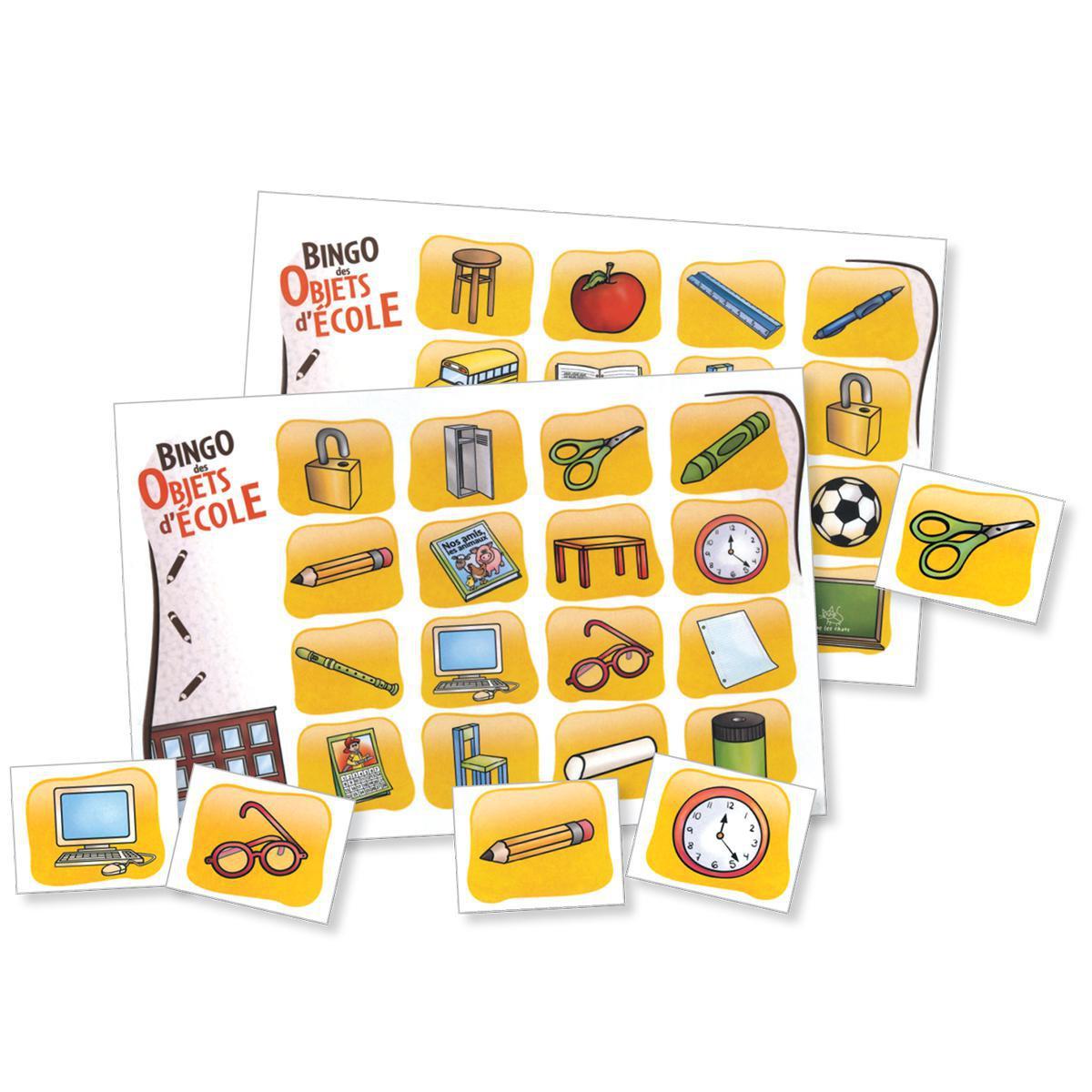 Bingo des objets d'école