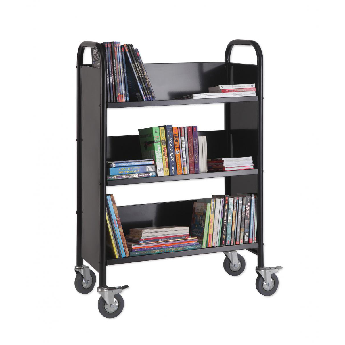 Metal Narrow 3-Shelf Book Truck