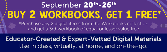 Buy 2 Workbooks, Get 1 Free* *Purchase any 2 digital items from the Workbooks collection and get a 3rd workbook of equal or lesser value free. September 20-26.